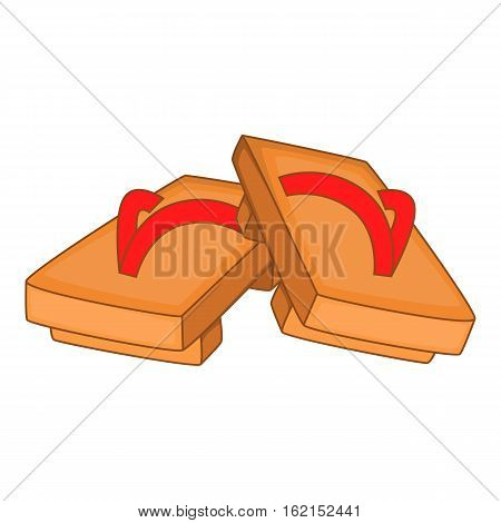 Pair of wooden clogs icon. Cartoon illustration of pair of wooden clogs vector icon for web