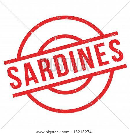 Sardines rubber stamp. Grunge design with dust scratches. Effects can be easily removed for a clean, crisp look. Color is easily changed.