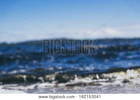 Blur wave of Coalmine Beach Walpole Australia . vintage toning filter add .