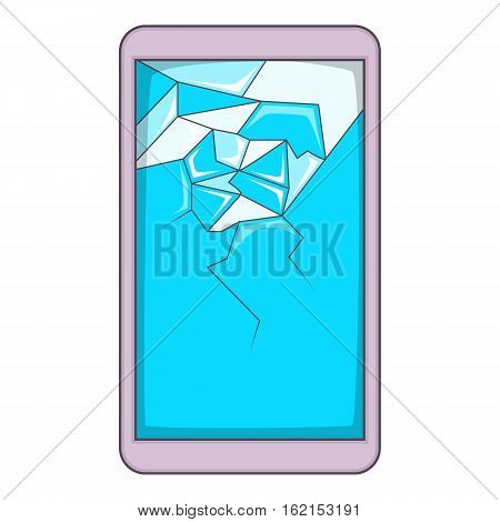 Smartphone with broken screen icon. Cartoon illustration of smartphone with broken screen vector icon for web