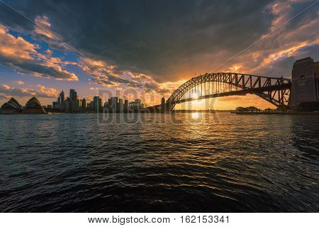 Sydney Harbour at sunset viewed from Milsons Point in North Sydney Australia. DEC 19,2016 Sydney Harbour is a beautiful meandering waterway, famous around the world.