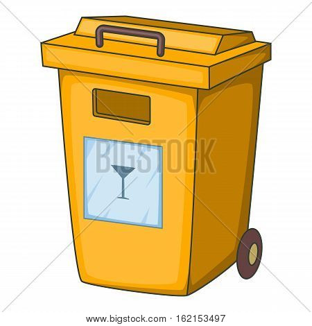 Yellow bin garbage container for glass icon. Cartoon illustration of yellow bin garbage container for glass vector icon for web