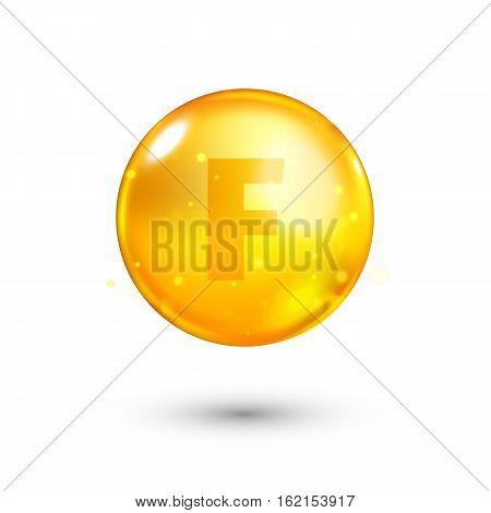 Vitamin F glitter gold icon. Linoleic acid vitamin drop pill capsule. Shining golden essence droplet. Beauty treatment nutrition skin care design. Natural supplement 3d symbol. Vector illustration.