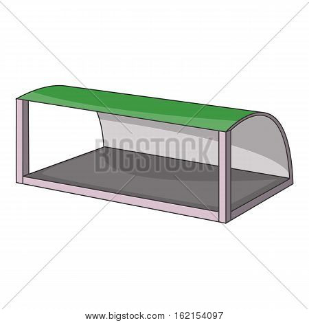 Pavilion for the train station or bus stop icon. Cartoon illustration of pavilion for the train station or bus stop vector icon for web