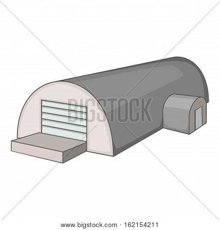 Metal semicircular hangar icon. Cartoon illustration of hangar vector icon for web