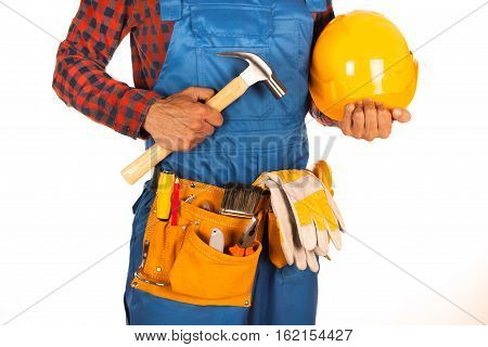 Handyman with helmet and workers belt full of tools isolated on white background