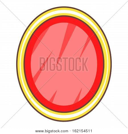 Shield in the form of an oval icon. Cartoon illustration of shield in the form of an oval vector icon for web