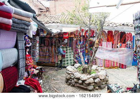 CUSCO - SEPTEMBER 02: Colorful souveniers on the streets of Cusco Peru on September 2nd 2016.