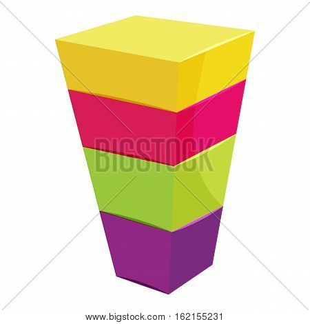 Color cubes stacked icon. Cartoon illustration of color cubes stacked vector icon for web