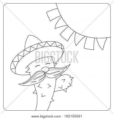 Funny animated cactus in mexican sombrero. Black and white vector illustration.