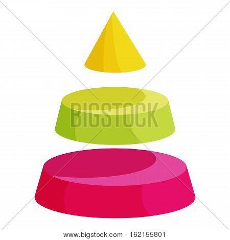 Pyramid divided into three colorful segment layers icon. Cartoon illustration of pyramid divided into three colorful segment layers vector icon for web