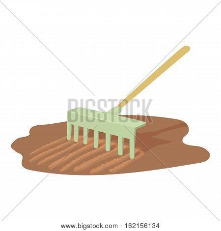Rake icon. Cartoon illustration of rake vector icon for web design