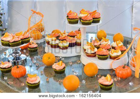 Wedding cake with red roses wedding cake. orange