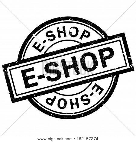 E-Shop rubber stamp. Grunge design with dust scratches. Effects can be easily removed for a clean, crisp look. Color is easily changed.