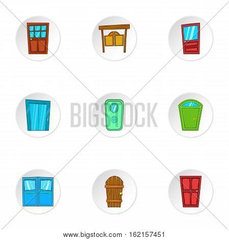 Front door icons set. Cartoon illustration of 9 front door vector icons for web