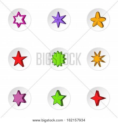 Five-pointed star icons set. Cartoon illustration of 9 five-pointed star vector icons for web