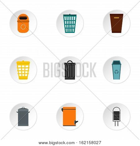 Bin icons set. Flat illustration of 9 bin vector icons for web
