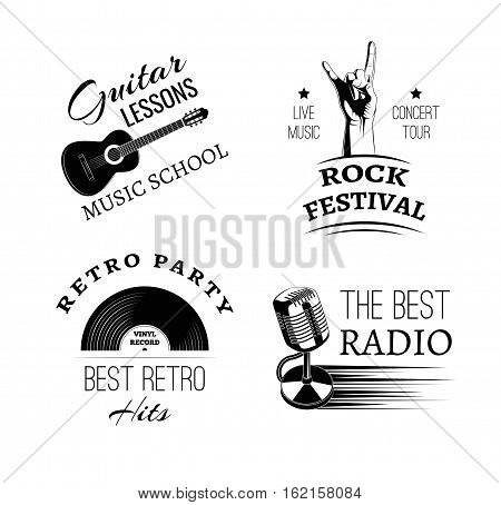 Music vintage retro label and badge. Guitar, violin, harp, gramophone, microphone, hand in rock, drum and drumsticks. Vector illustration