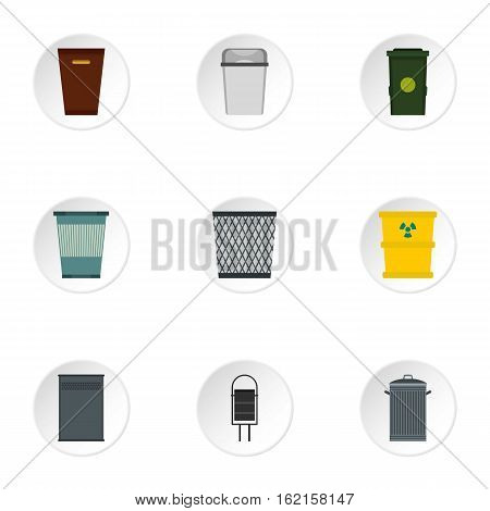 Waste rubbish icons set. Flat illustration of 9 waste rubbish vector icons for web