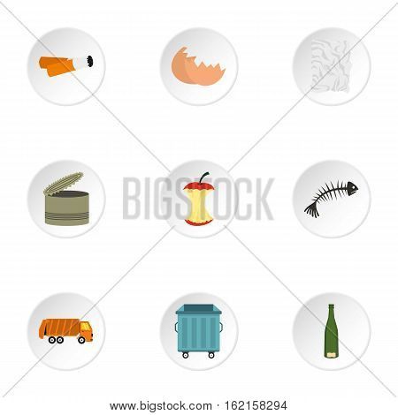 Rubbish icons set. Flat illustration of 9 rubbish vector icons for web