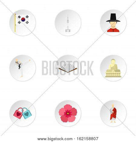 Stay in South Korea icons set. Flat illustration of 9 stay in South Korea vector icons for web