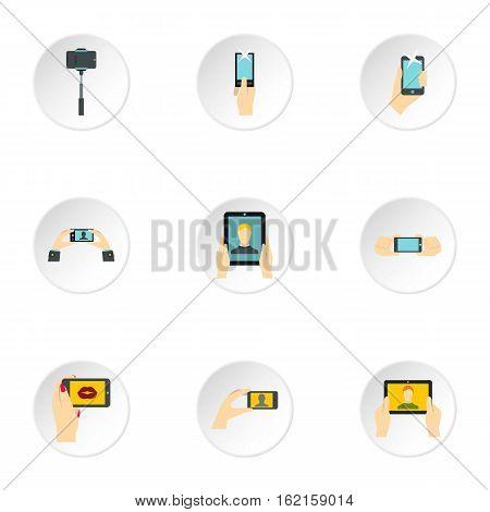Photo on smartphone icons set. Flat illustration of 9 photo on smartphone vector icons for web