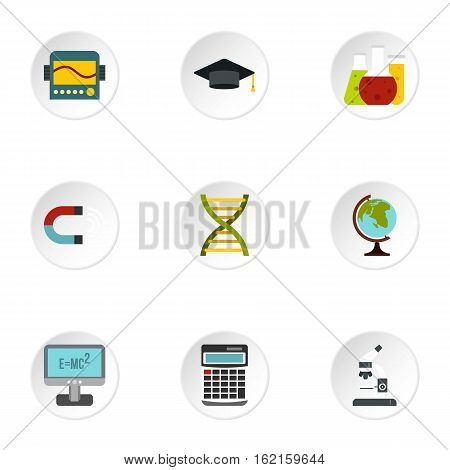 Scientific research icons set. Flat illustration of 9 scientific research vector icons for web