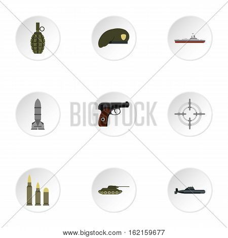 Weapons icons set. Flat illustration of 9 weapons vector icons for web
