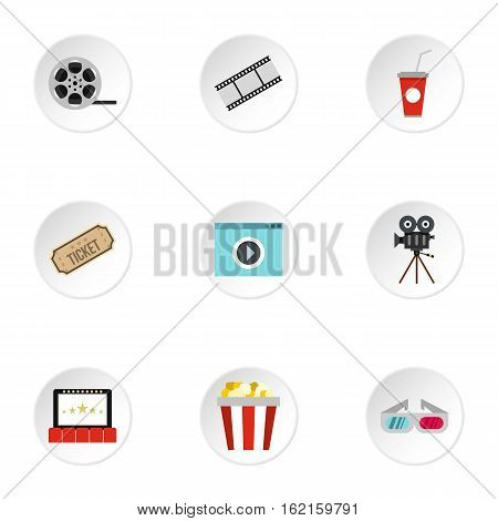 Movie icons set. Flat illustration of 9 movie vector icons for web