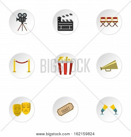 Film icons set. Flat illustration of 9 film vector icons for web