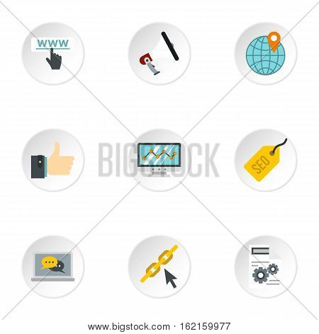 SEO promotion icons set. Flat illustration of 9 SEO promotion vector icons for web