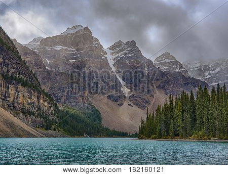 Moraine Lake in Banff National Park Alberta Canada on a stormy day