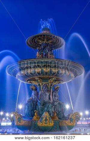 Fountain at Place de la Concord in Paris France