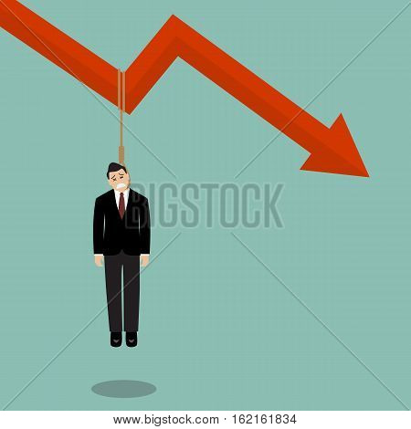 Businessman hang himself on a graph down. Business concept