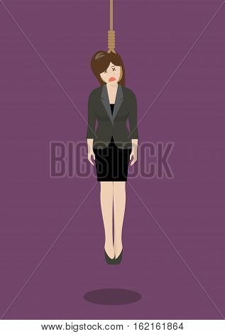 Hanged business woman. Business concept vector illustration