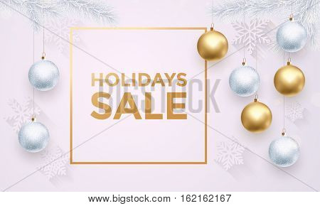 Premium luxury Holidays sale tex background for promo card. Golden decoration ornament with Christmas ball on vip black background with snowflake pattern.