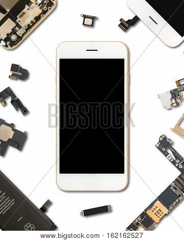 Flat Lay (Top view) of smartphone is surrounded by its own components isolate on white background with clipping path in 4:5 aspect ratio