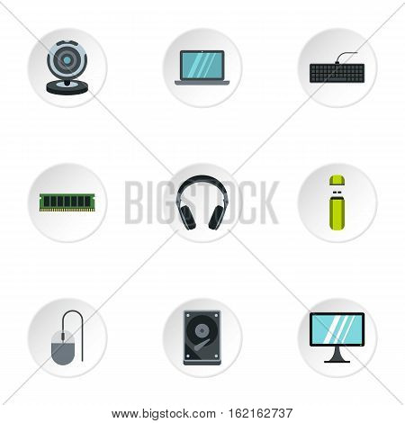 Computer protection icons set. Flat illustration of 9 computer protection vector icons for web