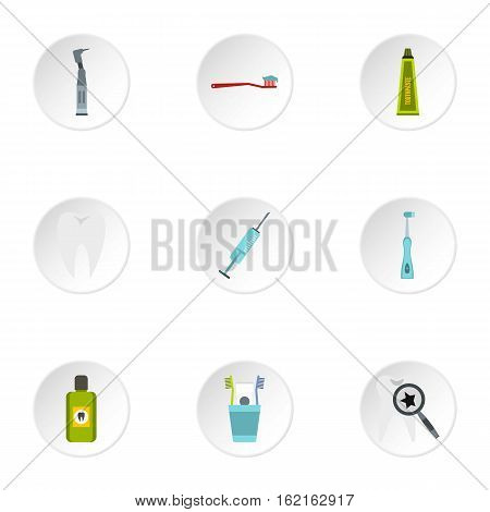 Dental clinic icons set. Flat illustration of 9 dental clinic vector icons for web