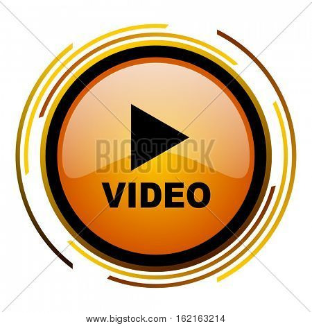 Play video sign vector icon. Modern design round orange button isolated on white square background for web and application designers in eps10.