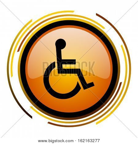 Wheelchair sign vector icon. Modern design round orange button isolated on white square background for web and application designers in eps10.