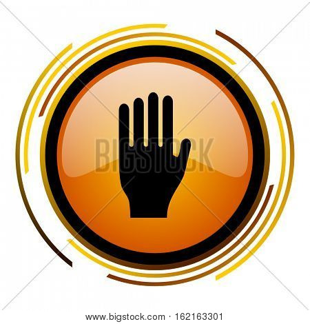 Hand sign vector icon. Modern design round orange button isolated on white square background for web and application designers in eps10.