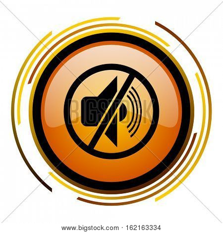 Speaker mute sign vector icon. Modern design round orange button isolated on white square background for web and application designers in eps10.