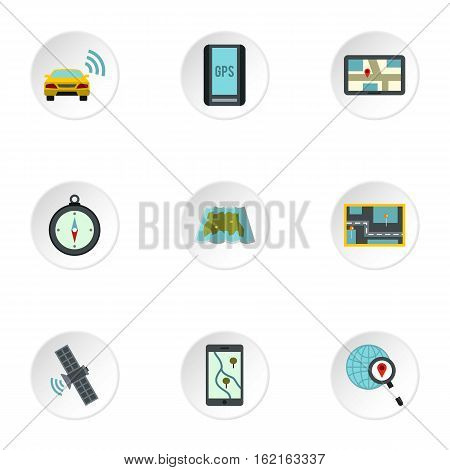 GPS icons set. Flat illustration of 9 GPS vector icons for web