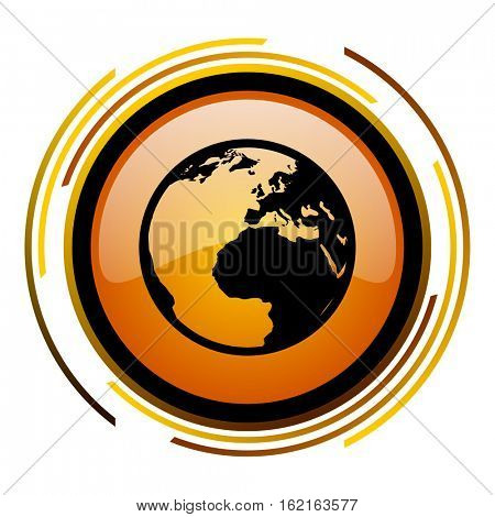 Planet earth sign vector icon. Modern design round orange button isolated on white square background for web and application designers in eps10.
