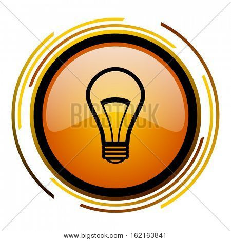 Ligh bulb - idea sign vector icon. Modern design round orange button isolated on white square background for web and application designers in eps10.
