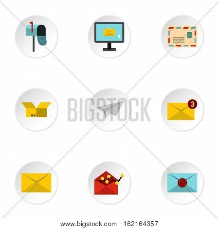 Letter icons set. Flat illustration of 9 letter vector icons for web