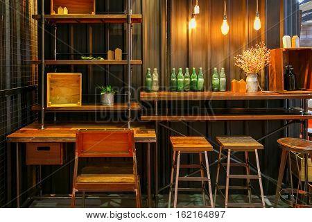 BANGKOK THAILAND - APRIL 29 2016:Bar and stool decorations in Bangkok