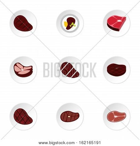 Steak icons set. Flat illustration of 9 steak vector icons for web
