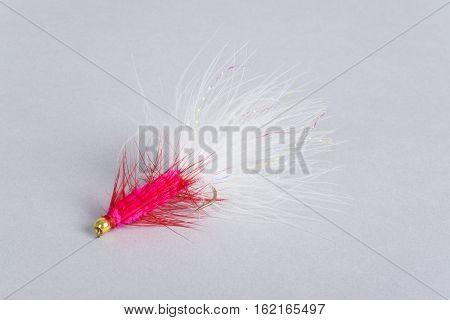 Colorful Fishing Fly on Gray Background Close Up